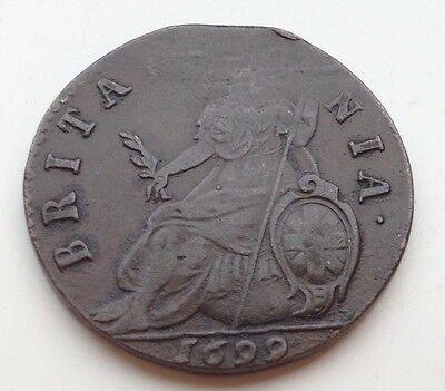 1699 King William Halfpenny Coin