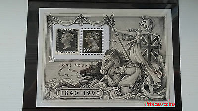 1840-1990 Commemorative The Penny Black Stamp & 20P Stamp In Miniature Sheet