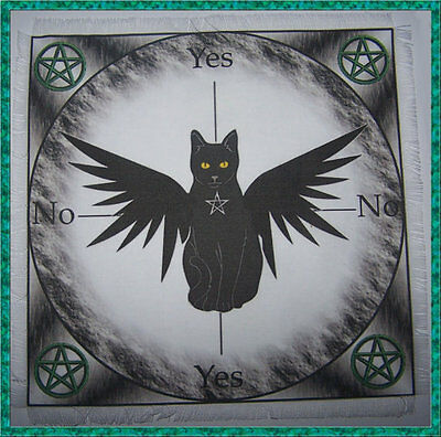 Winged Cat Scrying/Dowsing Mat ideal for use with pendulum Wicca divination