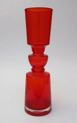 Fab Vintage Scandinavian Red Cased Hooped Art Glass Vase Mid Century Eames Era