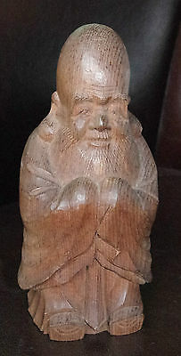 RARE JAPANESE CARVED WOODEN FUKUROKUJU GOOD LUCK SAGE / BUDDHA Signed Box Mingei