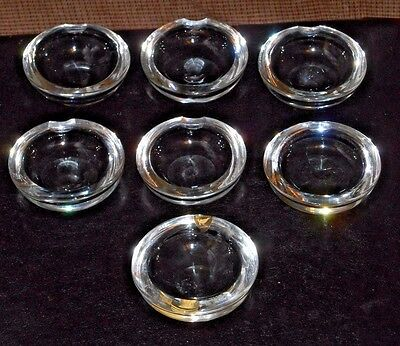 """7 Orrefors Individual 3"""" Crystal Ashtrays - 1 Is Sticker Signed"""