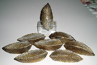 8 Beautiful Brass Metal Leaf Design Napkin Rings Holders Superb Condition