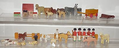 WA03 - lot of wooden Noah's Ark animals, some antique. Grey goat 41mm high