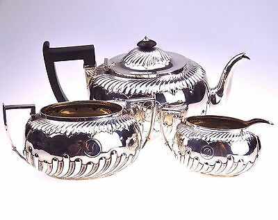 STERLING SILVER VICTORIAN TEA SET MARTIN HALL & Co SHEFFIELD c1886