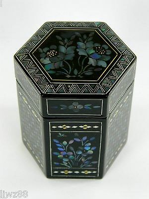 Chinese Tea Caddy Canister,Hand-Inlaid Shell Flower Pattern