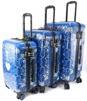 Set 3 Suitcase 4 Wheel Spinner Lightweight Trolley Luggage Travel Case Cabin Bag