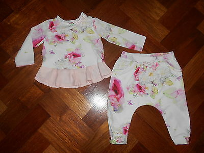 -Girls TED BAKER Floral Jersey Top & Harem Trousers 3-6 Months