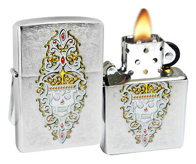Zippo Lighter 28794 Engraved Skull Day of the Dead Brushed Chrome Windproof NEW