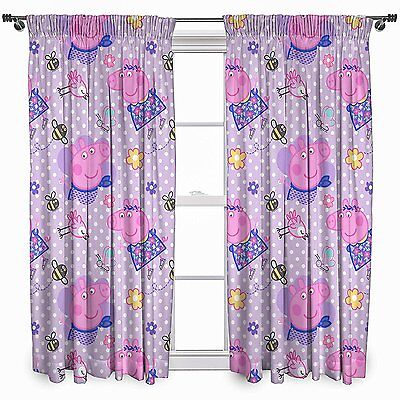 NEW PEPPA PIG 'HAPPY' PAIR OF CURTAINS - 66 x 54 Inch - GIRLS PINK LILAC BEDROOM