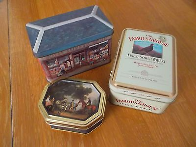 COLLECTION of 3 VINTAGE TINS FAMOUS GROUSE CHURCHILLS BONBONS JONS TOFFEE SHOP