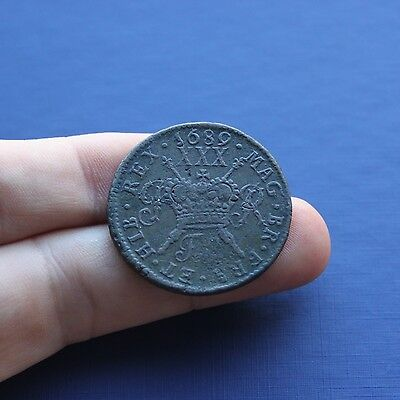Milled Base Coin James 2nd Gunmoney Large Half Crown Feb 1689 AD