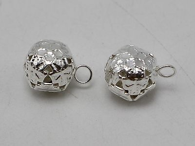 40 Silver Ball Jingle Bells Decoration Wedding Party Craft 12mm
