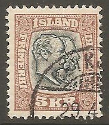 1907 Iceland 5k. Slate-Blue and Brown SG 95 Used (Cat £325)