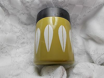 "Catherineholm Norway  Enamel Coffee Canister "" Lotus "" Olive Green / White"