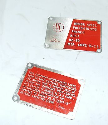Ammco 3000 4000 4100 7000 7500 7700 Electrical Switch Panel Caution Plate 920463