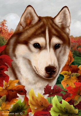 Large Indoor/Outdoor Fall Flag - Red & White Siberian Husky 13230