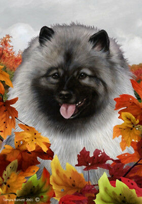 Large Indoor/Outdoor Fall Flag - Keeshond 13017