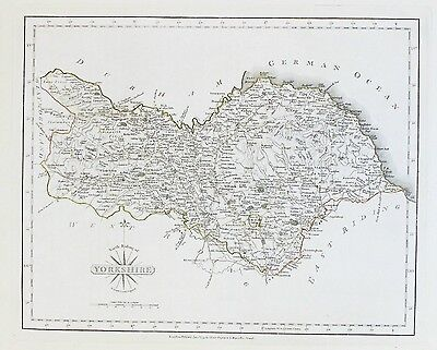 OLD ANTIQUE MAP YORKSHIRE NORTH RIDING c1793 by J CARY OUTLINE HAND COLOUR