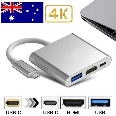 USB 3.1 Type C Male to HDMI USB 3.0 Digital Multiport Adapter USB-C Charge X#P