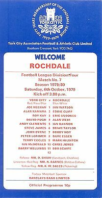 YORK CITY v ROCHDALE Division four 6 October 1979