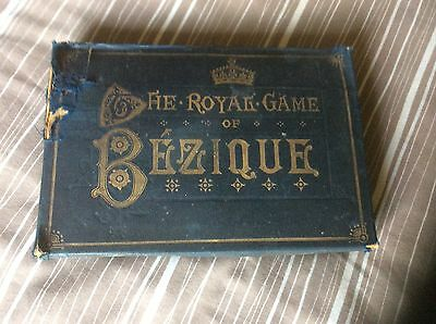 ANTIQUE ROYAL GAME OF BEZIQUE PLAYING CARDS c1903 COMPLETE