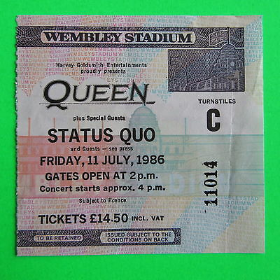 Queen - Rare Used Original Ticket From Wembley Stadium - 11 July 1986 (11014)
