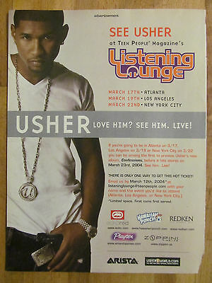 Usher, Listening Lounge, Live Appearance, Full Page Promotional Ad