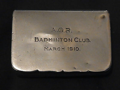 Antique Silver Match Holder Chester 1909 Engraved AGR Badminton Club March 1910