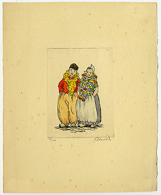 Print-DUTCH COSTUME-TRADITIONAL-GARLAND-COUPLE-Smit (?)-ca. 1950
