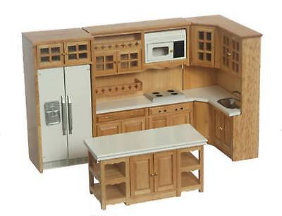 Dolls House Light Oak Modern Fitted Kitchen Furniture Set Miniature 1:12 Scale
