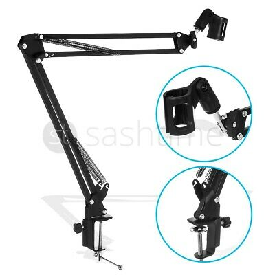 New Desk Mic Microphone Suspension Boom Scissor Arm Stand Shock Mount Adjustable