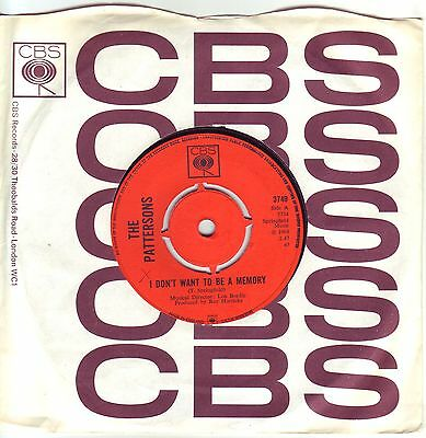 """7"" - THE PATTERSONS - I don`t want to be a memory - UK-Pressung"