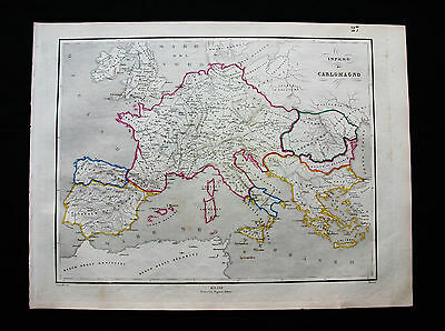 1860/65 PAGNONI - Exceptional Map: EUROPE, HISTORICAL map EMPIRE of CHARLEMAGNE