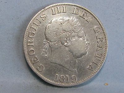 George Iii Silver Half-Crown Coin  Dated 1819