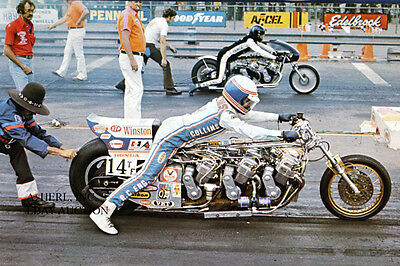 Russ Collins RC Fuel Injection Honda engine dragracer 1973 motorcycle drag race
