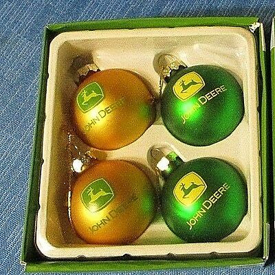 NEW in Box, John Deere Christmas Collection 4 Glass Ball Ornaments, FREE SHIP