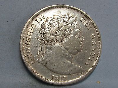 George Iii  **bull Head** Silver Half-Crown Coin  Dated 1817
