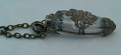 Beautiful Antique Rock Crystal Silver Cased Scent Perfume Chatelaine Bottle