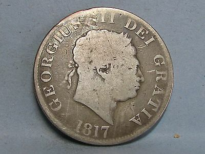 George Iii  **small Head** Silver Half-Crown Coin  Dated 1817