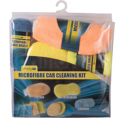 Microfibre Car Cleaning Poloshing Kit 9pc Sponge Cloth Wheel Brush Wash Mitt Pad