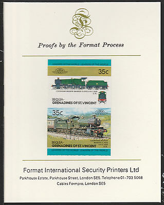 Bequia (2056) Locomotives #2 Manor Class 4-6-0  imperf on Format PROOF  CARD