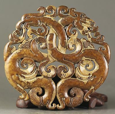 Chinese old natural jade hand-carved dragon phenix pendant 2.8 inch