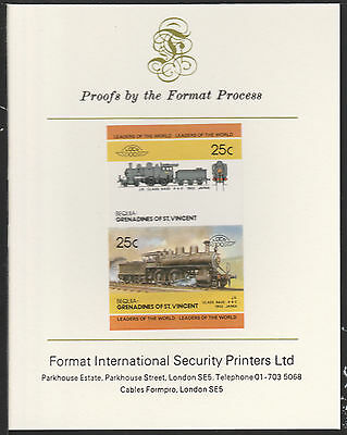 Bequia (2058) Locomotives #4 Class 6400 Japan  imperf on Format PROOF  CARD