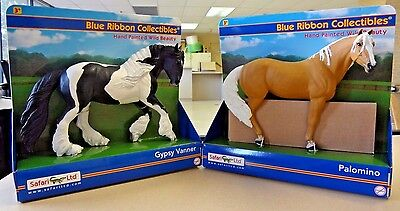 Lot of 2 Safari Ltd hand painted wild beauty horses Palomino,Gypsy Vanner.