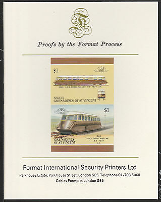 Bequia (2062) Locomotives #5 Diesel Railcar  imperf on Format PROOF  CARD