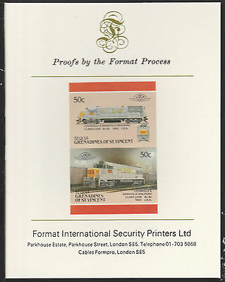 Bequia (2067) Locomotives #5 L&N Class U25B  imperf on Format PROOF  CARD