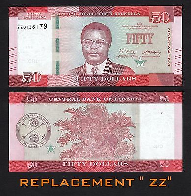 Liberia 50 Dollars (2016) P-NEW REPLACEMENT ZZ Banknote - UNC