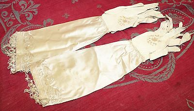 Rare 19th Century Ladies Embroidered Silk & Leather Gloves Study