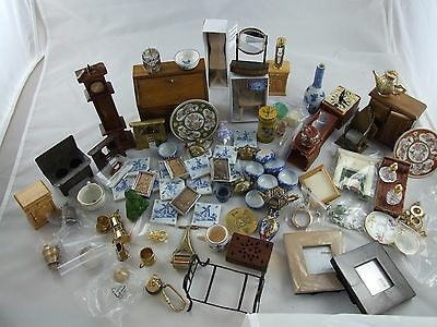 Doll house  huge mixed lot of vintage and new furniture vases fireplaces clocks